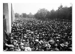 Crowds of Mexican Nationals Boarding Train During Bracero Program