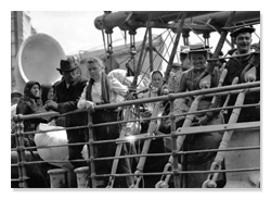 Immigrants to US on Ship Deck