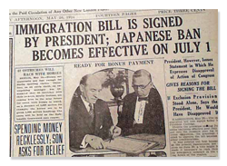 Immigration Act of 1924 Newspaper Headline