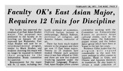 1971 Newspaper Artiel About Creation of East Asian Studies Major