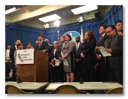 Democratic lawmakers touting a package of pro-immigrant bills in Sacramento